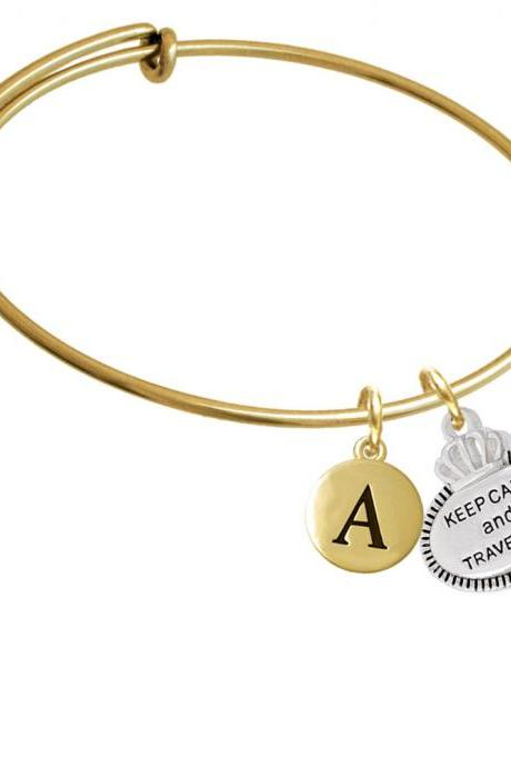 Keep Calm and Travel On Gold Tone Initial Charm Expandable Bangle Bracelet BR-C5995-PebbleInitial-F2084-GP