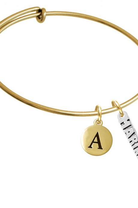 Marines Gold Tone Initial Charm Expandable Bangle Bracelet BR-C6027-PebbleInitial-F2084-GP