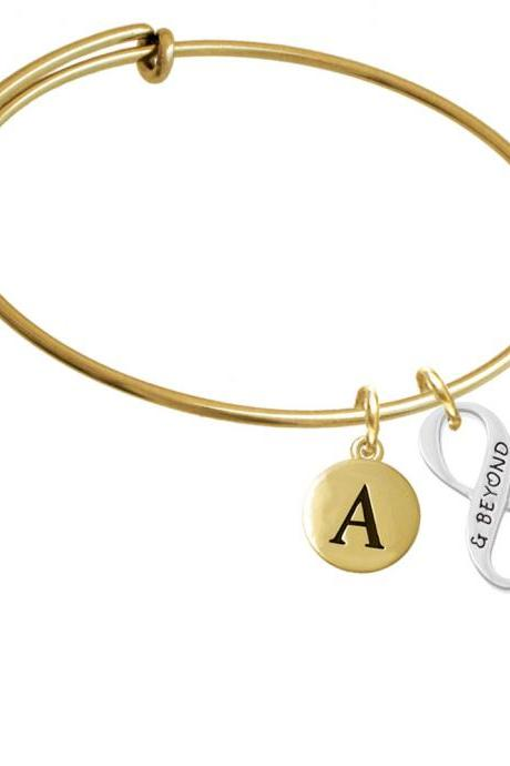 & Beyond Infinity Sign Gold Tone Initial Charm Expandable Bangle Bracelet BR-C6043-PebbleInitial-F2084-GP