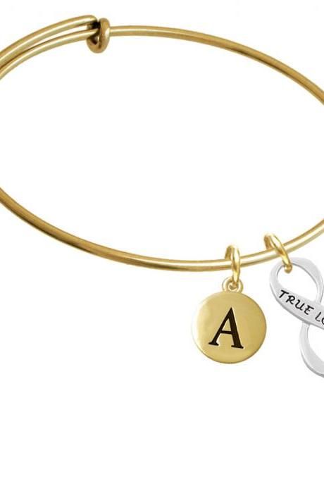 True Love Infinity Sign Gold Tone Initial Charm Expandable Bangle Bracelet BR-C6048-PebbleInitial-F2084-GP