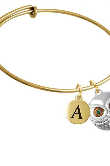 Large Round Owl with Green Crystal Eyes Gold Tone Initial Charm Expandable Bangle Bracelet BR-CT1034-PebbleInitial-F2084-GP