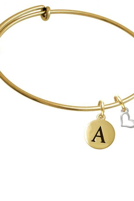 Small Slanted Open Heart Gold Tone Initial Charm Expandable Bangle Bracelet BR-CT1044-PebbleInitial-F2084-GP