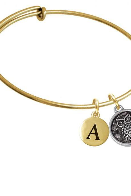 Antiqued Round Seal - Owl Gold Tone Initial Charm Expandable Bangle Bracelet BR-CT1073-PebbleInitial-F2084-GP