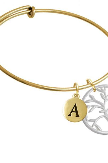 Tree of Life in Circle Gold Tone Initial Charm Expandable Bangle Bracelet BR-CT1079-PebbleInitial-F2084-GP