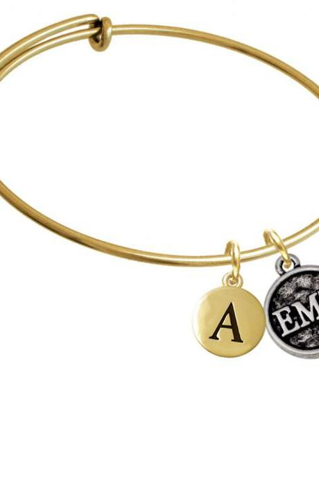 Medical Caduceus Seal - EMT Gold Tone Initial Charm Expandable Bangle Bracelet BR-CT1094-PebbleInitial-F2084-GP