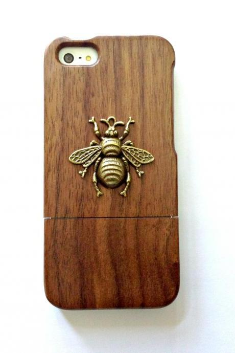 Bee iphone 6 6s 4.7 wood case, Vintage iphone 6 6s plus wood case, iphone SE, 5c, 5, 5s wood case, samsung galaxy S4, S5, S6, S6 Edge, S7, S7 Edge, Note 3, Note 4, Note 5, real wood case, item no.163