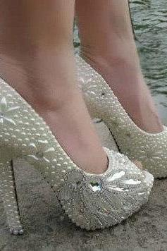 Pearl Wedding Shoes, Bridal Shoes, Bridal, Women Peep Toe Shoes Lady Evening Party Club High Heel Dress Shoes