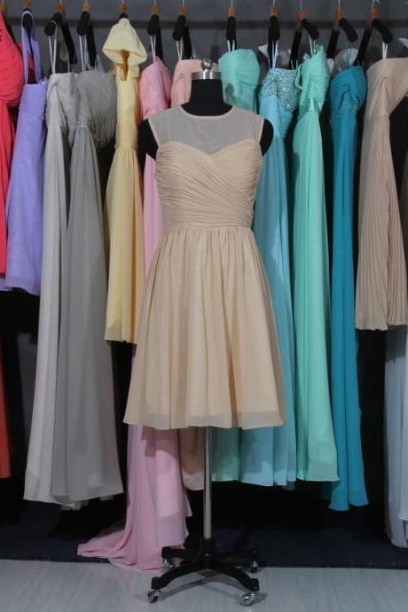 Champagne Bridesmaid Dress, Champagne Chiffon Bridesmaid Dress, Short Bridesmaid Dress, Cheap Bridesmaid Dress