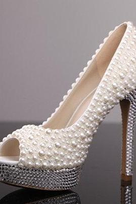 Pearl High Heel Shoes Rhinestone White Bridal Wedding Shoes, Bridal, bridal shoes, Lady formal occassions Dress Shoes Party Prom Shoes