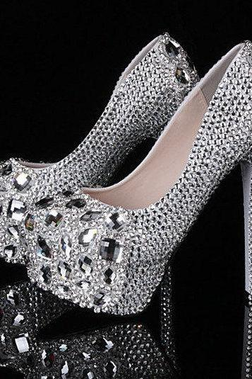 Diamond frost wedding shoes, bridal shoes, bridal, beautiful crystal high heels women pumps banquet prom shoe