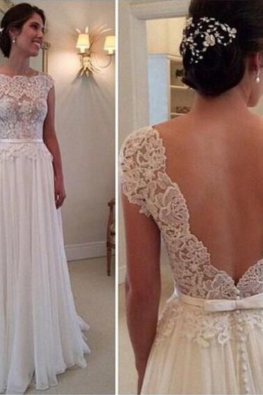 Wedding Dresses, Chiffon Wedding Dresses,Vintage Wedding Dresses, Floor-Length Wedding Dresses, A-Line Wedding Dresses, Applique Wedding Dresses,Backless Wedding Dresses