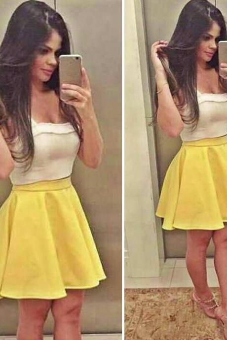 Stylish Lady Women's New Fashion Sexy Sleeveless Stitching Two-Piece Crop Tops And Skirt