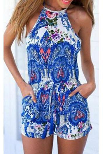 Free shipping Ethnic Cutout Back Sleeveless Print Romper