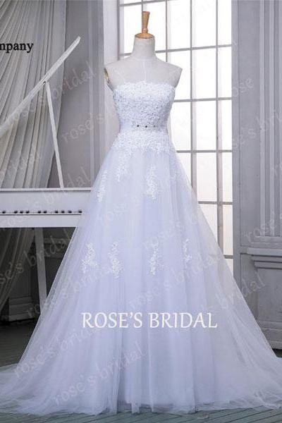 White Lace Appliques Strapless Straight-Across Floor Length Tulle Wedding Gown Featuring Train