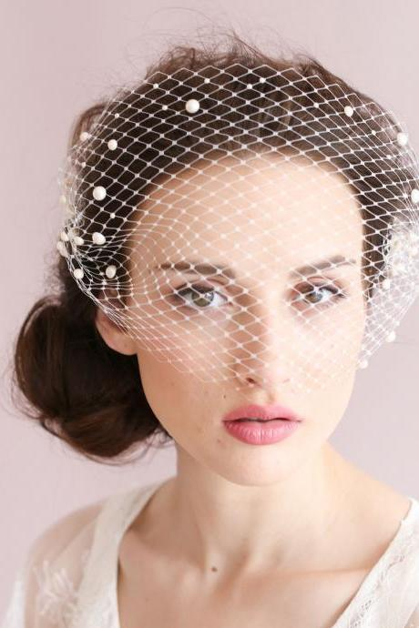 Wedding Bridal Ivory White Net Netting Hair Accessories Veil Tiara A8