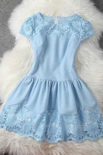 Slim Spring And Summer Flower Embroidery Princess Dress