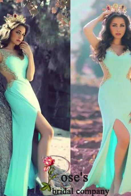 Sexy Formal Dress, Mint Green Prom Dress, Mermaid Prom Dresses, Chiffon Prom Dress, Sparkly Evening Gowns, Sheer Long Evening Dress, V Neck Prom Dress, Side Slit Evening Dress