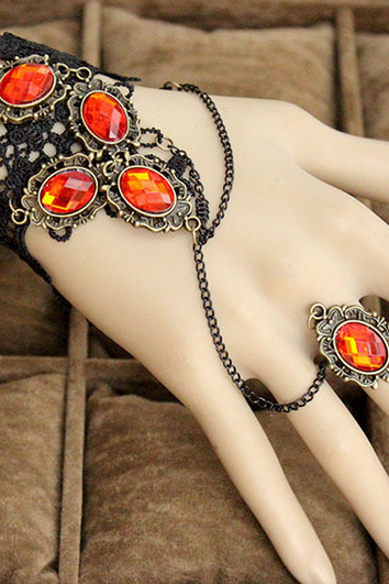 Woman Vintage Retro Gothic Lolita elegant Black lace Red Crystal Beads dance bracelet ring A10