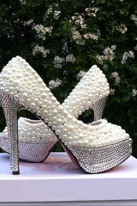 Pearl Rhinestone White Bridal Wedding Shoes, Bridal shoes, Lady formal occassions Dress Shoes Party Prom Shoes