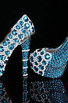 Unique bling Blue Crystal Diamond Wedding dress shoes Handmade Rhinestone Party Prom Shoes Bridesmaid Shoes