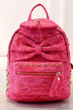 Silk Bowknot Rivet Backpacks