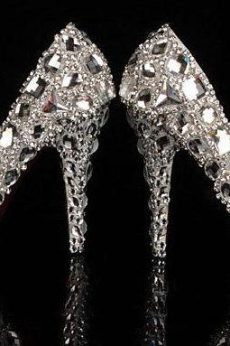 Bling Crystal High Heel Wedding Shoes Silver Bridal Dress Shoes Woman Nightclub Party Banquet Dress Shoes
