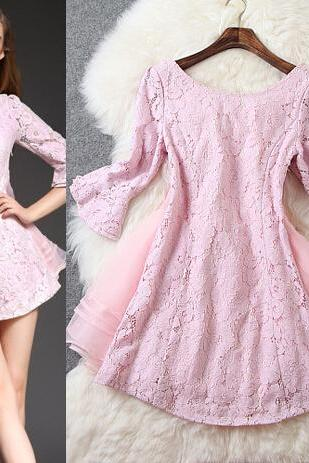 Pink Organza lace Mini Dress