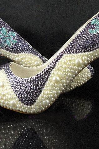 Pearl Rhinestone Crystal Wedding Shoes women Party prom Shoes Peep Toe Wedding Dress Shoes bridal Shoes