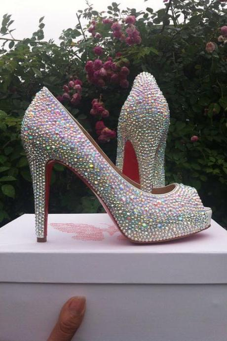 Rhinestone Embellished Open-Toe Platform High Heel Stilettos