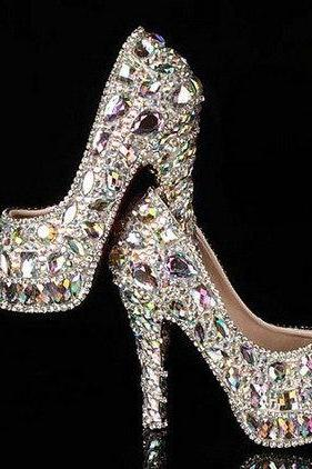 Newest crystal rhinestone Shiny high heel female lady's Women Bridal Evening Prom Party club Bar Wedding Bridesmaid shoes