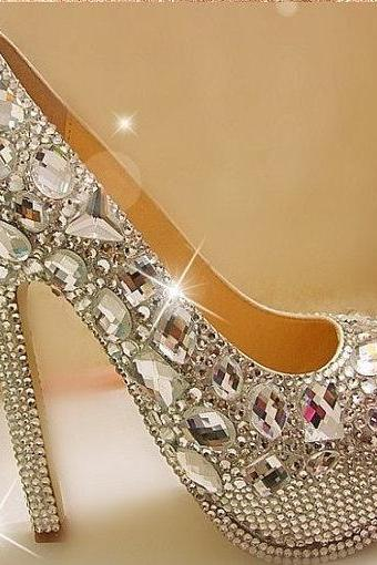 Gorgeous Fashion Silver High Heels Crystal Wedding Shoes Lady Glitter Bridal Dress Shoes Graduation Party Prom Shoes