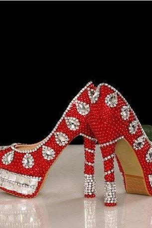 New Arrival Red Crystal High Heels Bride Wedding Shoes Banquet Rhinestone Nightclub Party Prom Pumps Woman Shoes for Mom