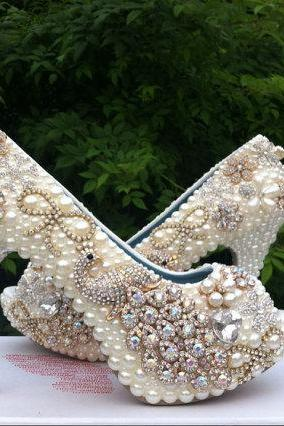 Fashion High Heel Wedding Shoes Pearl Peacock Rhinestone Women Shoes Wedding Shoes Genuine Leather Crystal Shoes