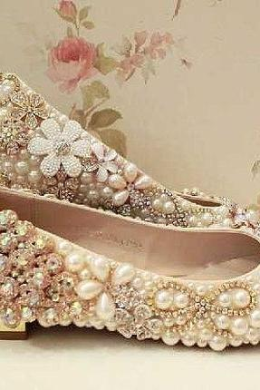 Sparkling rhinestone crystal bridal shoes flat heel women luxury flats crystal wedding shoes Formal occassions Evening Party