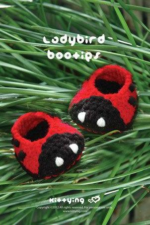 Crochet Pattern Ladybird Booties Crochet PATTERN, SYMBOL DIAGRAM (pdf) by kittying