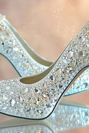 Nice Blue crystal lady's formal shoes Jeweled Beaded High Heel Bridal Evening Prom Party Wedding Dress Bridesmaid Shoes