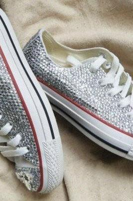 Wedding shoes bling crystal low women sneakers for women canvas sneakers and canvas shoes