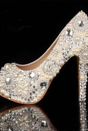 2015 Unique Ivory Pearl Rhinestone Wedding dress Shoes Peep Toe High Heeled Bridal Shoes Waterproof Woman Party Prom Shoes