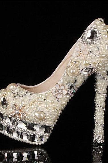 Luxuy Handmade Pearl Crystal Diamond Wedding Shoes White Bridal Dress Shoes Women Platform High heels Glitter Pumps