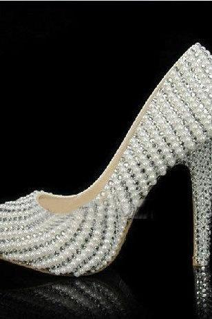 Handmade Crystal Rhinestone Bride Shoes Pearl Wedding Pumps Women White High Heels Women's Bridal Dress Shoes Prom Heels