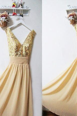 Gold Sequin Bridesmaid Dress,Gold Sparkly Evening Prom Dress,Long Gold Chiffon Dress,Sexy Gold Bridesmaid Dress,Prom Dress,Bridesmaid Dress
