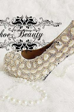 Unique Ivory Pearl Rhinestone Wedding dress Shoes Peep Toe High Heeled Bridal Shoes Waterproof Woman Party Shoes