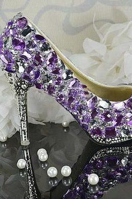 Women Purple Crystal Wedding Shoes Luxurious Beautiful Bridal Dress Shoes Women High heel party club Shoes