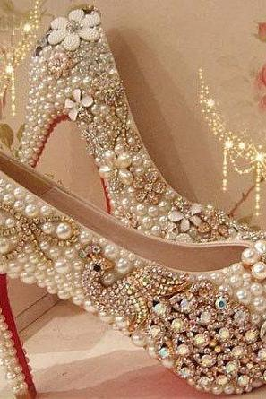 Fashion 2015 High Heel Wedding Shoes Pearl Peacock Rhinestone Women Shoes Wedding Shoes red bottom Shoes