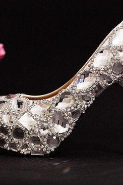 Luxury Bridal Shoes silver small crystals mix big crystals gems high heels wedding shoes Sparkling Formal Dress Shoes