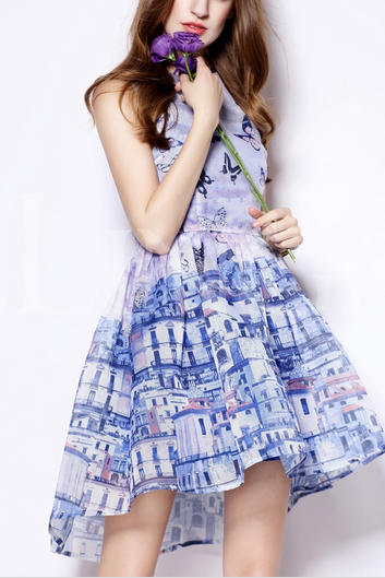Blue printed sleeveless dress