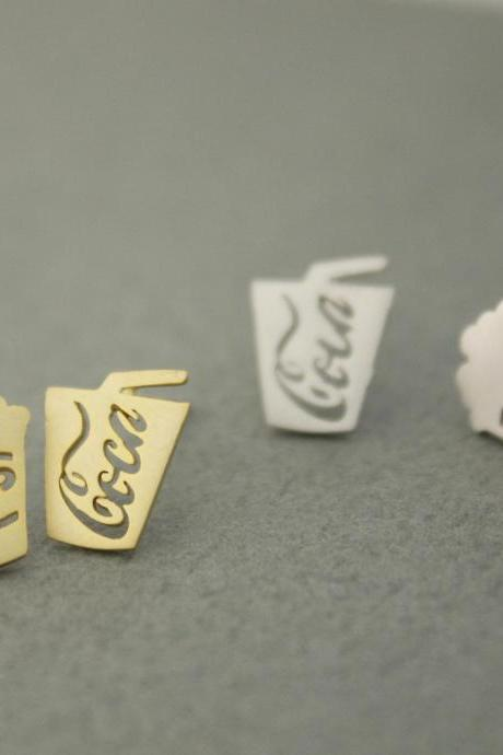 cute and unique Coke soda can and Buttered Popcorn post earrings( gold /silver), E0602S