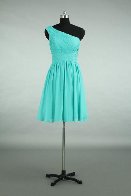 Custom Made Bridesmaid Dress, Turquoise Chiffon Bridesmaid Dress, A-line Short Bridesmaid Dress