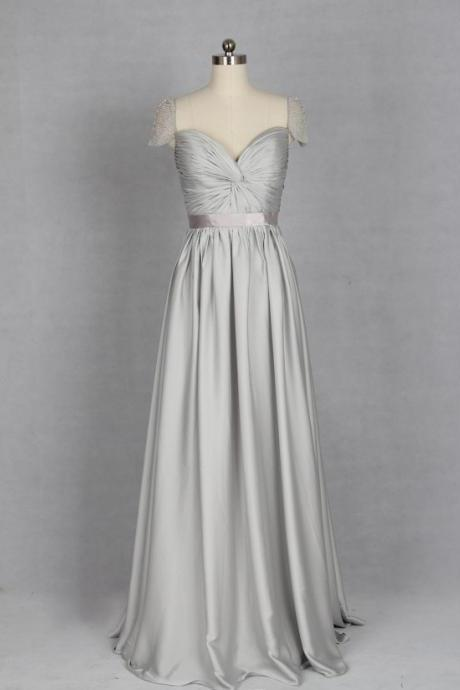 Silver Evening Dress, V-neck Evening Dress made from Chiffon or Satin Chiffon