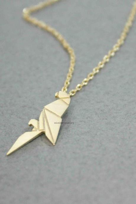 Origami Parrot pendant Necklace in gold / silver, N0524G